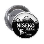 Niseko Japan black white snowboard art button