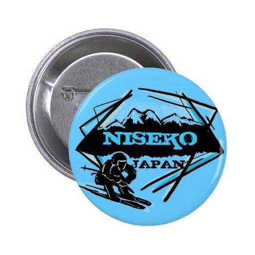 Niseko Japan blue ski logo souvenir button