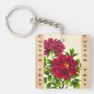Nishimura Hodo Peony japanese flowers fine art Double-Sided Square Acrylic Key Ring