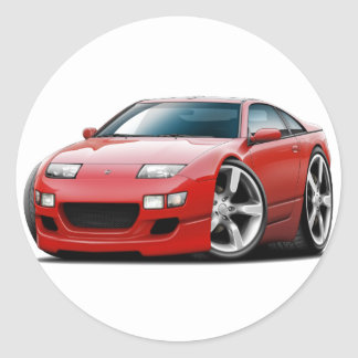 Nissan 300ZX Red Car Round Stickers