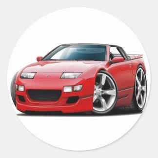 Nissan 300ZX Red Convertible Round Sticker