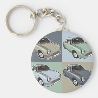 Nissan Figaro in four colors Basic Round Button Key Ring