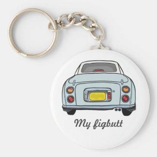 Nissan Figaro - Pale Aqua My figbutt - Keyring Basic Round Button Key Ring
