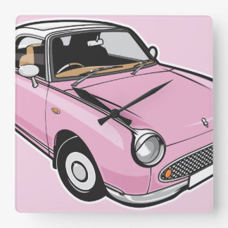Nissan Figaro Pink Square Wall Clock