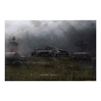 NISSAN GT-R R35 1400WHP IN 1800'S GRAVEYARD PHOTOGRAPHIC PRINT