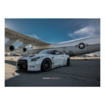 Nissan GT-R R35 LibertyWalk Widebody with Plane Poster