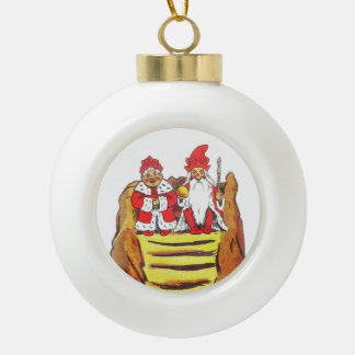 Nisse Gnome King and Queen Ceramic Ball Decoration