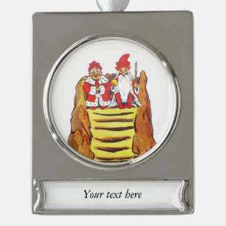 Nisse Gnome King and Queen Silver Plated Banner Ornament