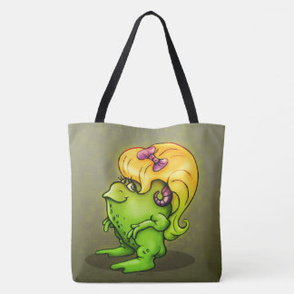 NITTA FUNNY ALIEN MONSTER FROG CARTOON TOTE BAG