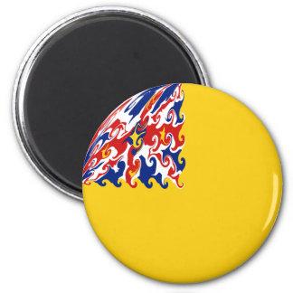 Niue Gnarly Flag 6 Cm Round Magnet