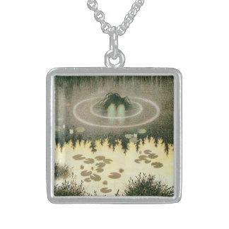 Nixie Water Spirit Vintage Art Square Pendant Necklace