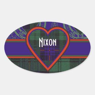 Nixon clan Plaid Scottish kilt tartan Oval Sticker