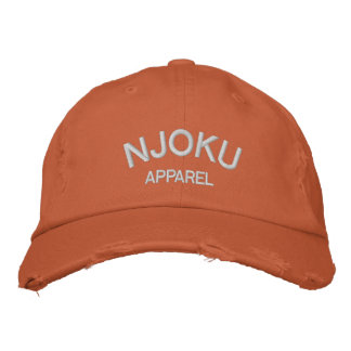 Njoku Apparel Logo Orange Distressed Cap. Embroidered Hat