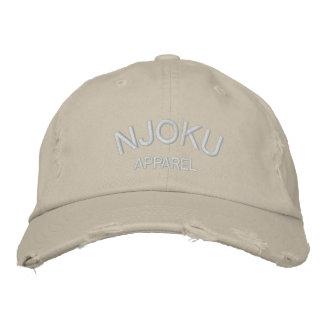 Njoku Apparel Logo Stone Distressed Cap. Embroidered Hat