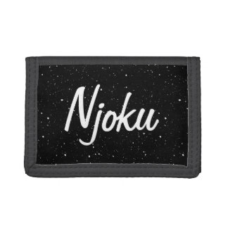 Njoku Black/White Speckle Wallet. Trifold Wallet