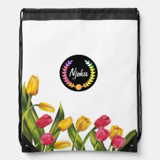 Njoku Colourful Wreath Floral Drawstring Backpack. Drawstring Bag