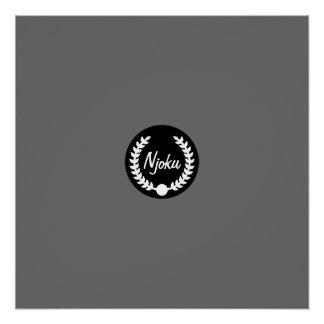 Njoku Grey 'Wreath' Logo Poster.