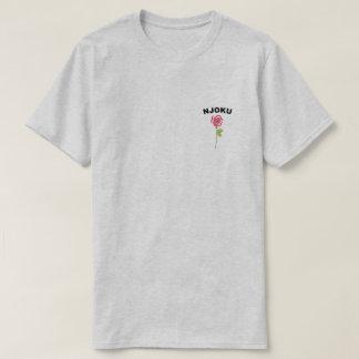 Njoku 'Red Rose' Logo Ash T-Shirt. T-Shirt