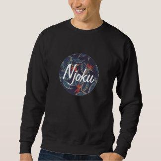 Njoku Tropical  Blue Circle Logo Black Sweatshirt. Sweatshirt