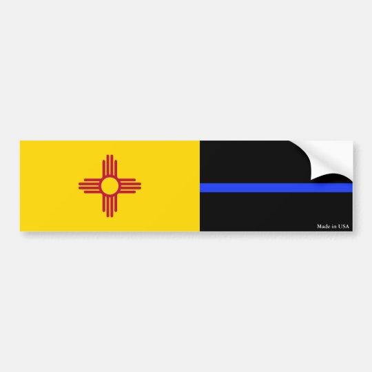 NM Flag & Police Thin Blue Line Bumper Sticker