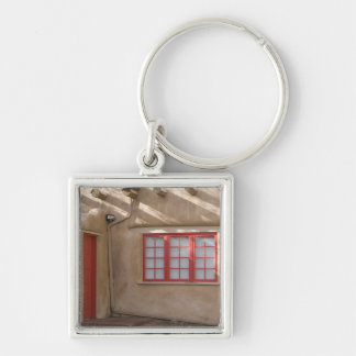 NM, New Mexico, Santa Fe, Canyon Road, legendary Silver-Colored Square Key Ring