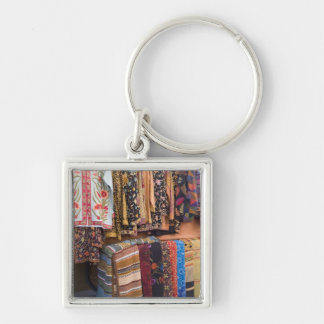 NM, New Mexico, Santa Fe, Navajo clothing, Silver-Colored Square Key Ring