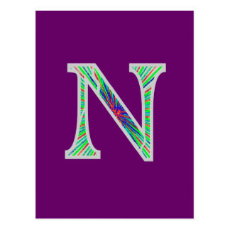 Nn Illuminated Monogram Postcard