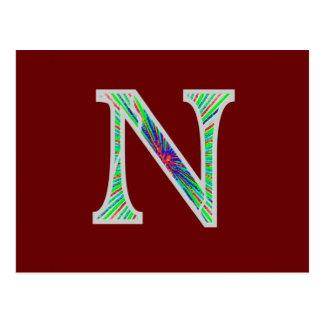 Nn Illuminated Monogram Postcard