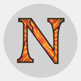 Nn Illuminated Monogram Round Sticker