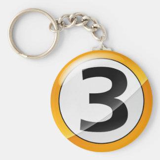 No 3 gold keychain