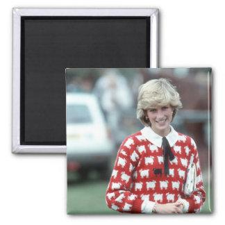 No.42 Princess Diana polo 1983 Square Magnet