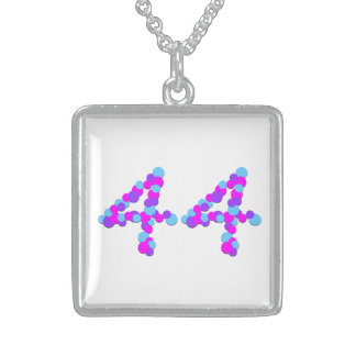 No 44 Numeric Sterling Silver Square Necklace