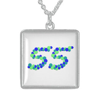 No 55 Numeric Sterling Silver Square Necklace