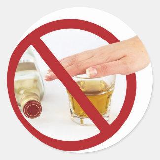 No alcohol round sticker