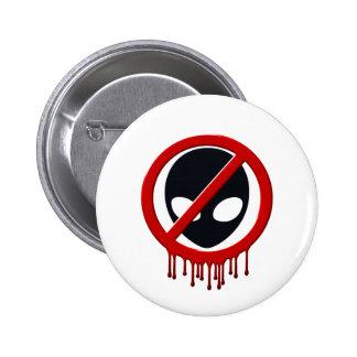 no aliens 6 cm round badge