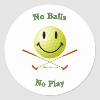 No Balls No Play Golf Smiley Round Sticker