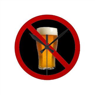 """""""No Beer"""" Round Clock"""