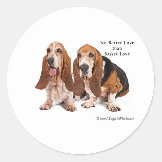 no better love than basset love classic round sticker