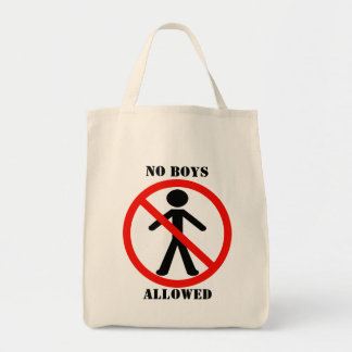 No Boys Allowed Grocery Tote Bag