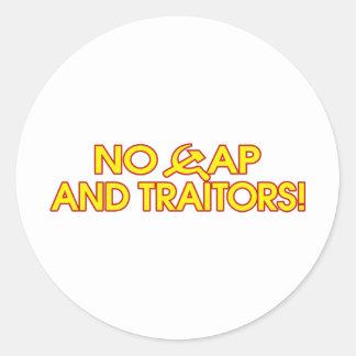 No Cap And Traitors! Round Sticker