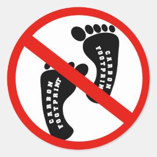 No Carbon FootPrint Round Sticker