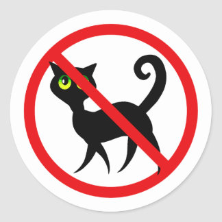 No Cats Allowed Round Sticker