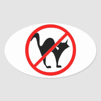 No Cats?! Oval Sticker