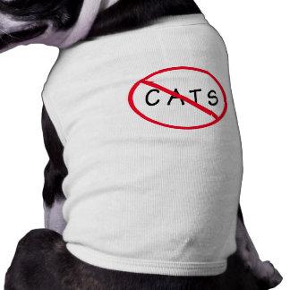 No Cats! Red Circle Sign Sleeveless Dog Shirt