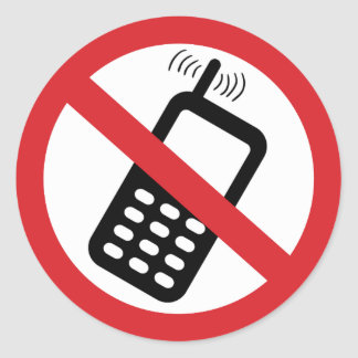 No Cell Phones Classic Round Sticker