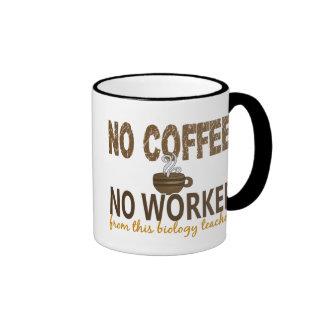 No Coffee No Workee Biology Teacher Ringer Mug