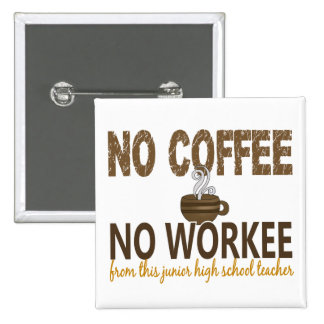 No Coffee No Workee Junior High School Teacher 15 Cm Square Badge