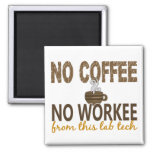 No Coffee No Workee Lab Tech Square Magnet