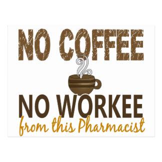 No Coffee No Workee Pharmacist Post Card