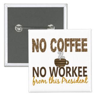 No Coffee No Workee President Pinback Button